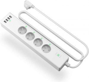 meross Multiprise Connectée WiFi avec 4 Prises et 4 USB Ports, Multiprise Intelligente